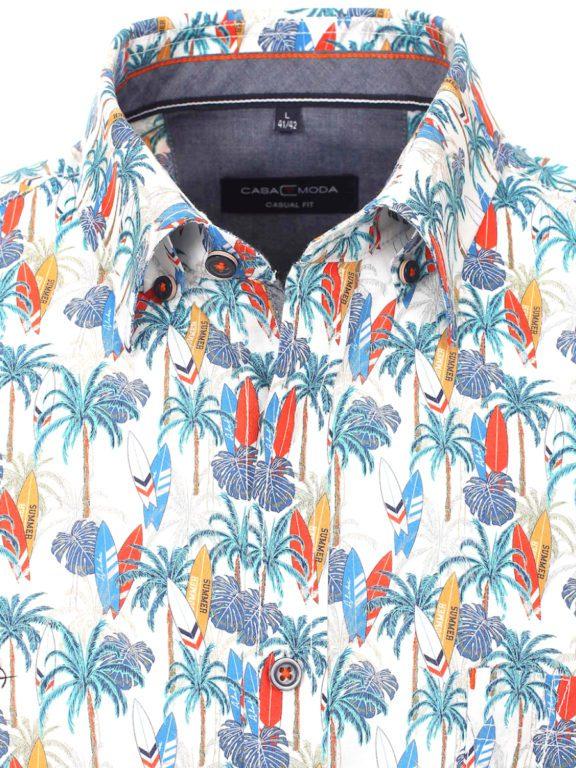 Casa Moda korte mouw overhemd met palmboom en surfplanken oranje 903453900-450 (3)
