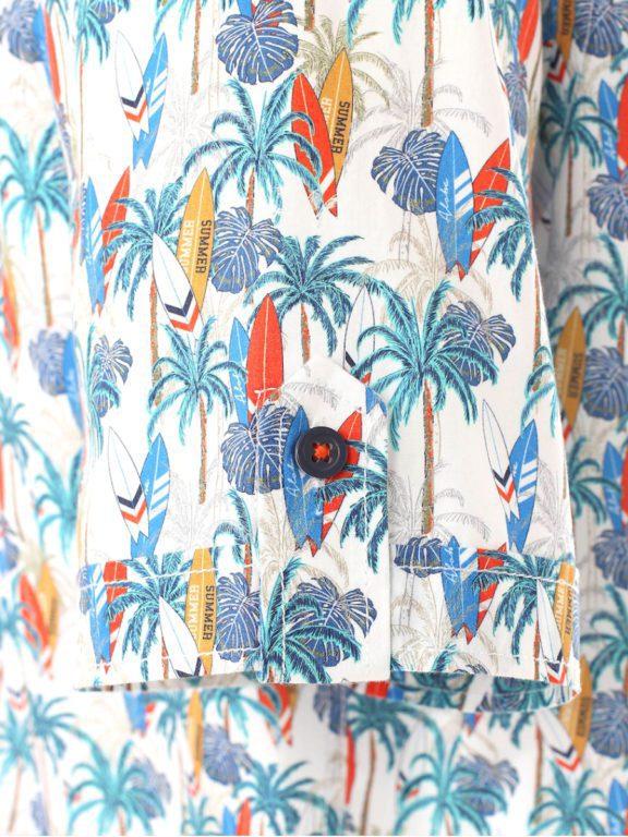 Casa Moda korte mouw overhemd met palmboom en surfplanken oranje 903453900-450 (4)