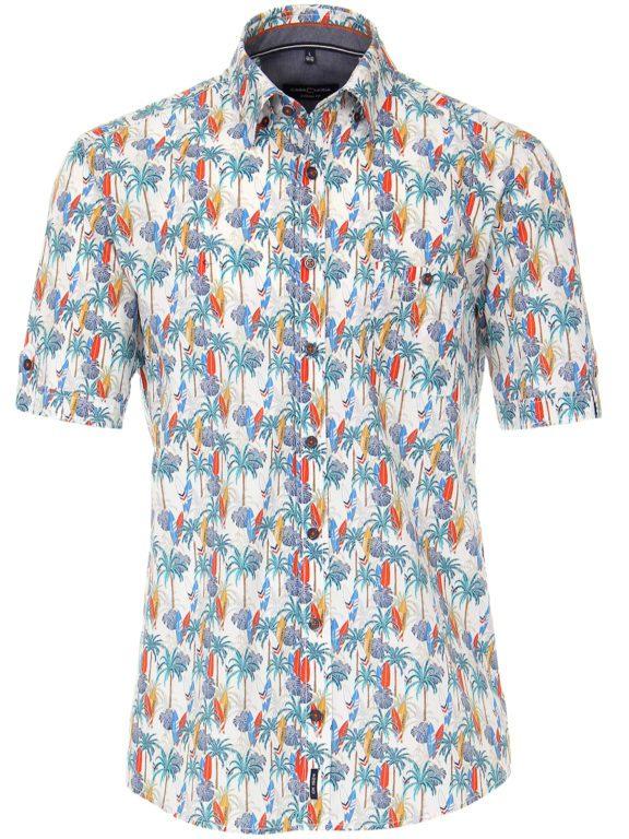 Casa Moda korte mouw overhemd met palmboom en surfplanken oranje 903453900-450 (5)