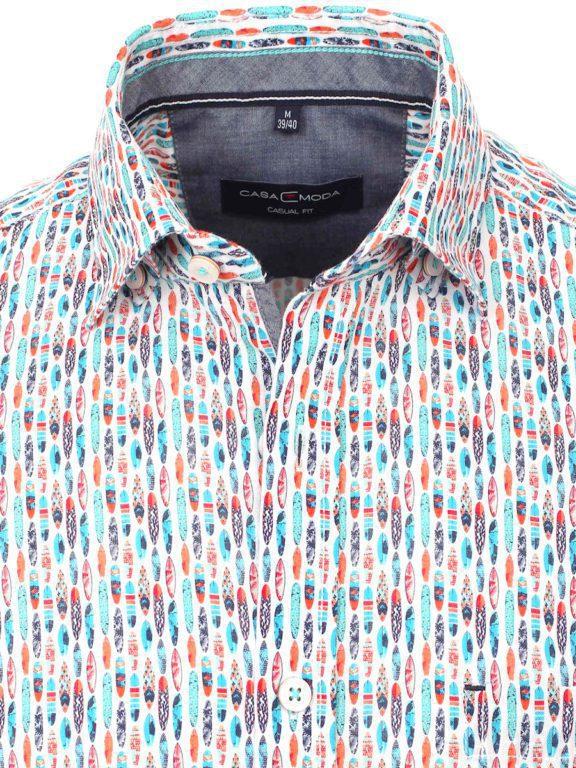 Casa Moda overhemd korte mouw met surfplanken blauw 903450500-350 (3)