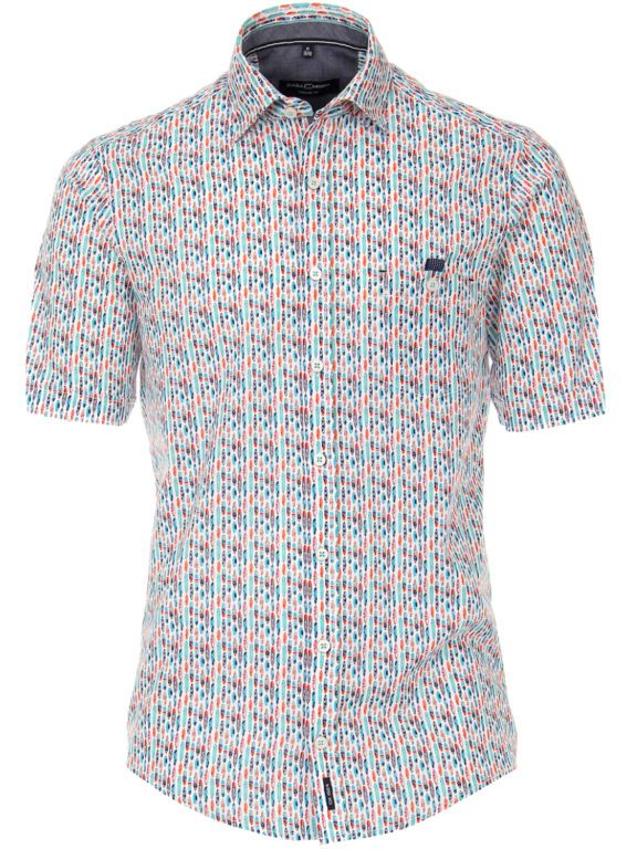 Casa Moda overhemd korte mouw met surfplanken blauw 903450500-350 (4)