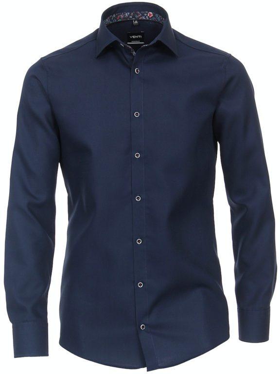 Venti overhemd donkerblayw kent kraag bloemprint in kraag113728400-101 (1)