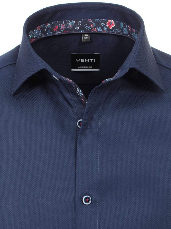 Venti overhemd donkerblayw kent kraag bloemprint in kraag113728400-101 (3)