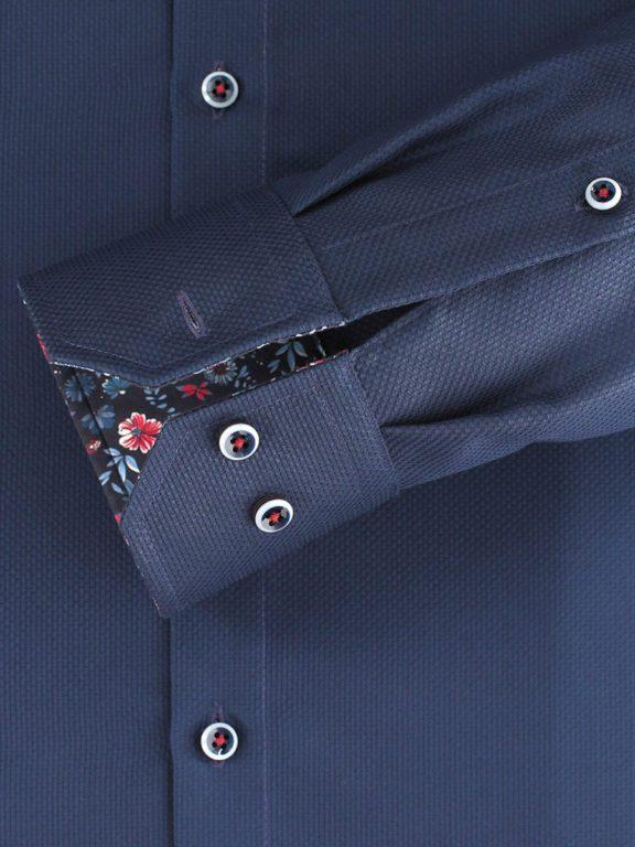 Venti overhemd donkerblayw kent kraag bloemprint in kraag113728400-101 (4)