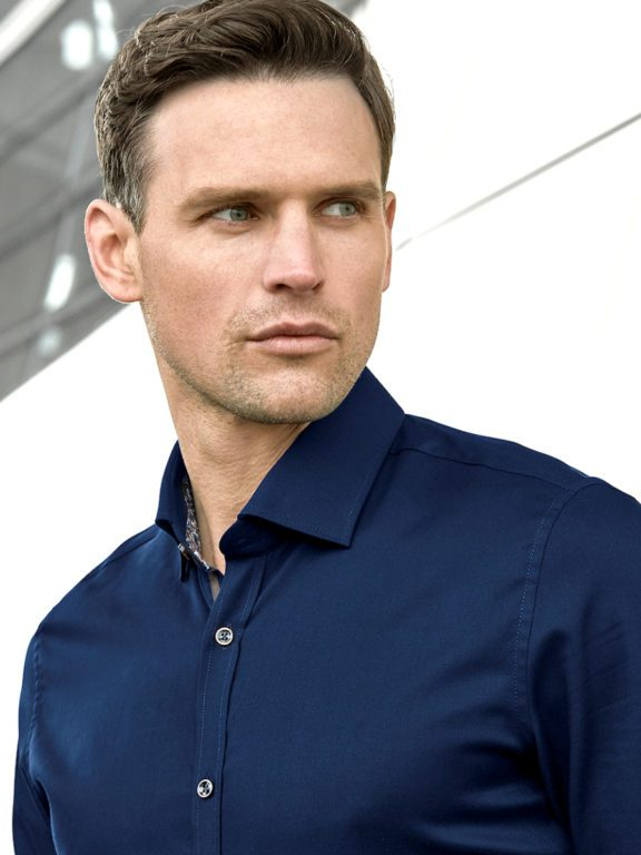 Venti overhemd donkerblayw kent kraag bloemprint in kraag113728400-101 model