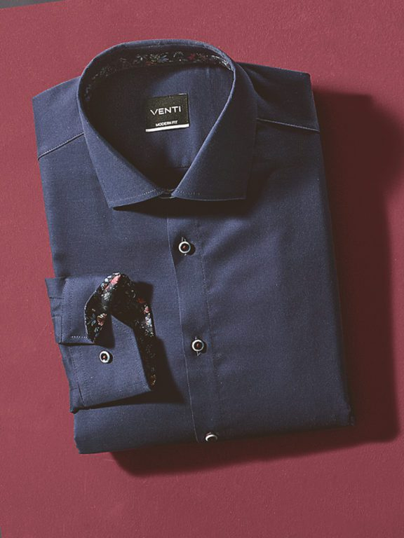 Venti overhemd donkerblayw kent kraag bloemprint in kraag113728400-101 opgevouwen
