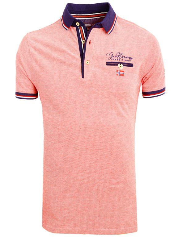 Geographical Norway Denim Polo Shirt Rood Borstzakje Kblended (2)
