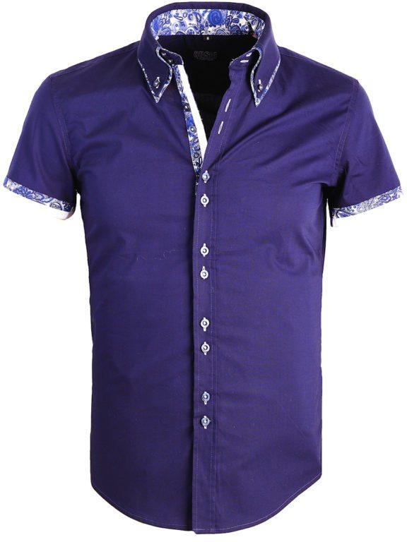 Carisma Italiaans Overhemd Korte Mouw Blauw Bloemen motief 9068 (4)
