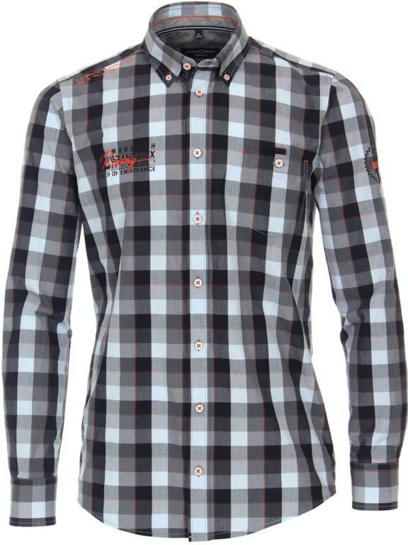 Casa Moda racing geblokt overhemd borstzakje grijs 413758200-750 (1)
