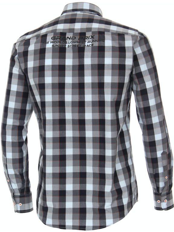 Casa Moda racing geblokt overhemd borstzakje grijs 413758200-750 (2)