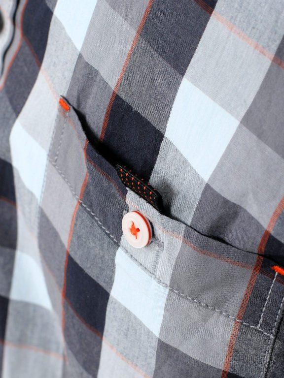 Casa Moda racing geblokt overhemd borstzakje grijs 413758200-750 (3)