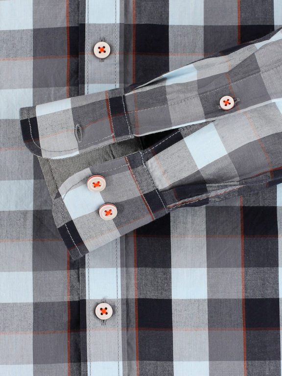 Casa Moda racing geblokt overhemd borstzakje grijs 413758200-750 (4)