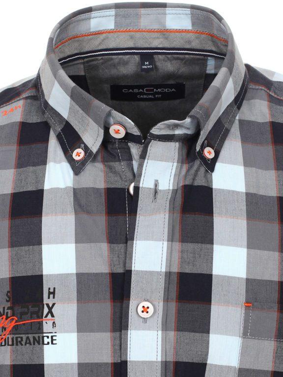 Casa Moda racing geblokt overhemd borstzakje grijs 413758200-750 (5)