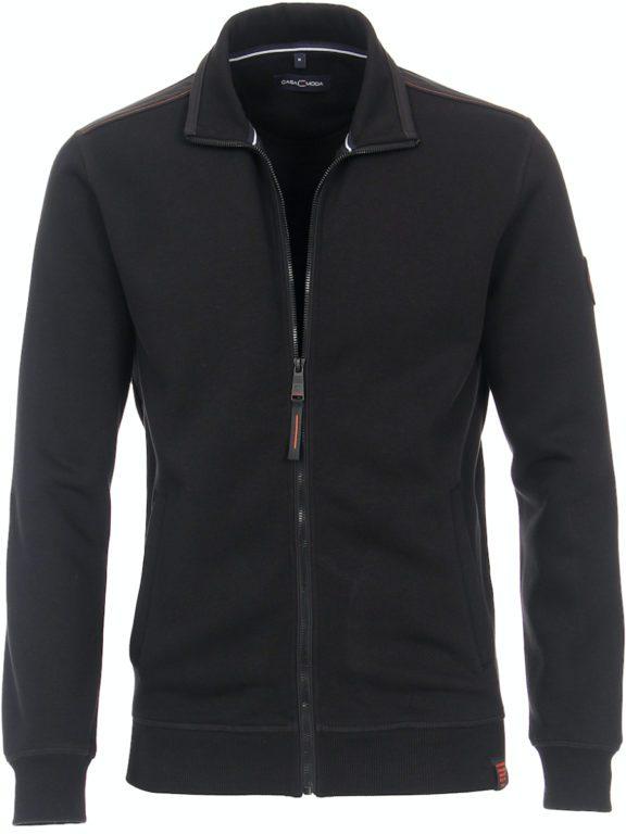 Casa Moda vest zwart met rits opstaande kraag CMS Sport 413707700-800 (6)
