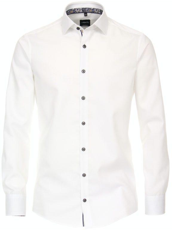 Venti luxe overhemd wit met bloemenmotief strijkvrij 113726100-001