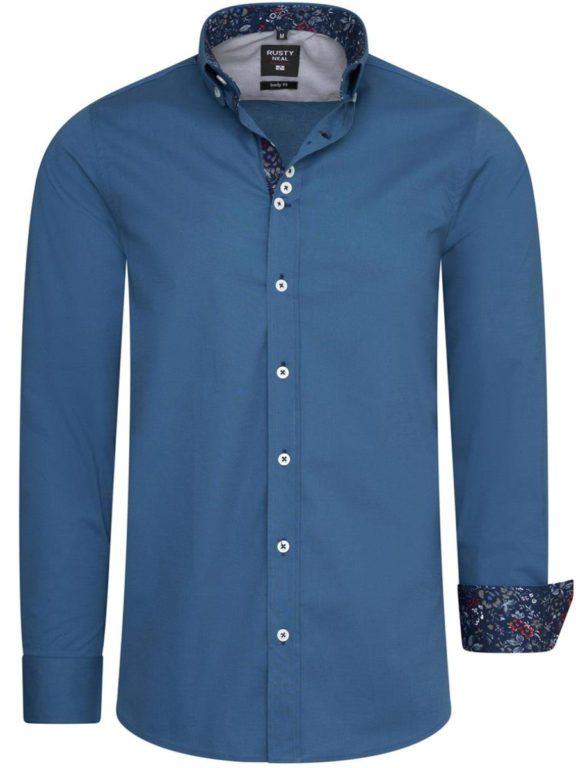 Blauw overhemd met bloemenprint in de kraag Rusty Neal 11030 petrol voorkant