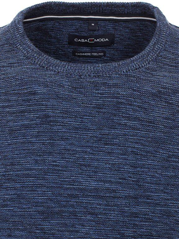 Heren trui met cashmere ronde hals Blauw Casa Moda 413711500 kraag