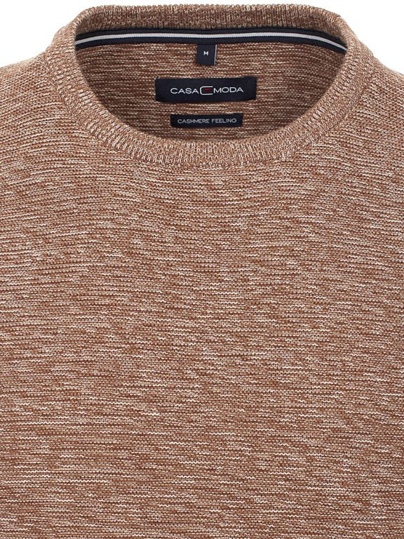 Heren trui met cashmere ronde hals beige Casa Moda 413711500 kraag
