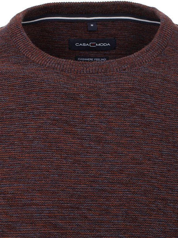 Heren trui met cashmere ronde hals bruin Casa Moda 413711500 kraag