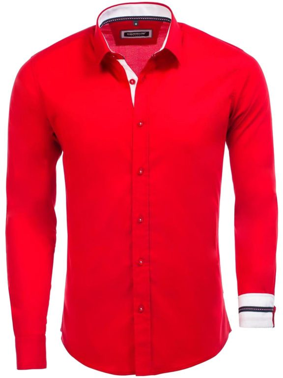 Rood overhemd lange mouw met stretch klassiek boord Carisma 8441 (2)