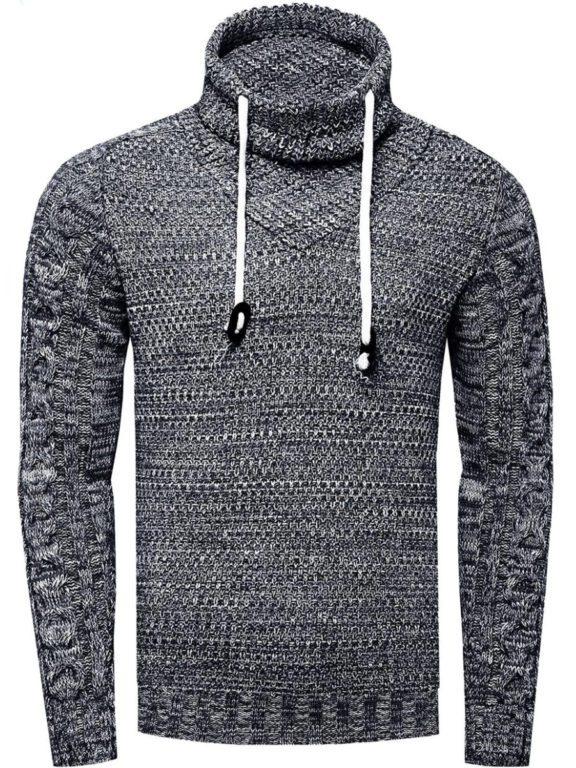 Sjaalkraag trui heren tunnelkoord Rusty Neal 133691 zwart voorkant