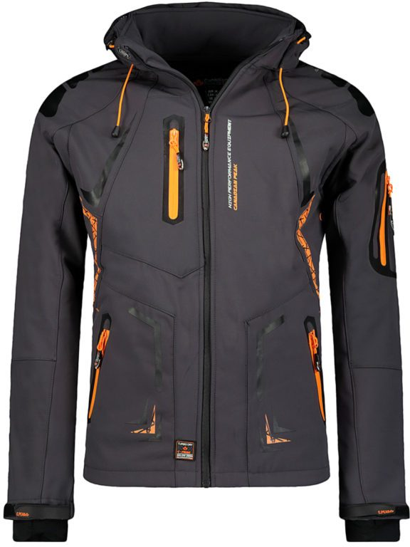 Softshell jas heren waterdicht met capuchon grijs Canadian Peak Tourmaline vooraanzicht