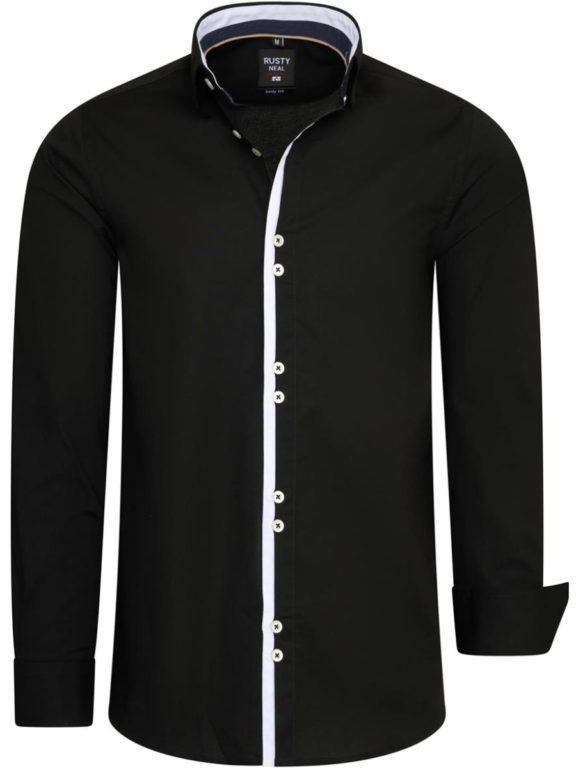 Stretch overhemd lange mouw zwart Rusty Neal 11029 voorkant