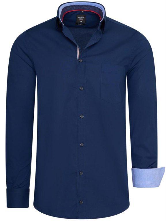 Stretch overhemd met borstzakje blauw Rusty Neal 11022 voorkant