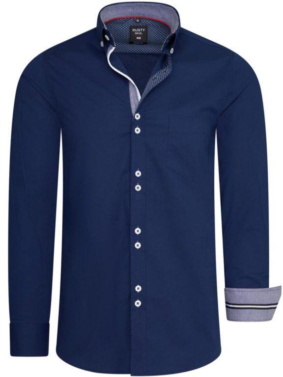 Stretch overhemd met borstzakje blauw Rusty Neal 11025 voorkant