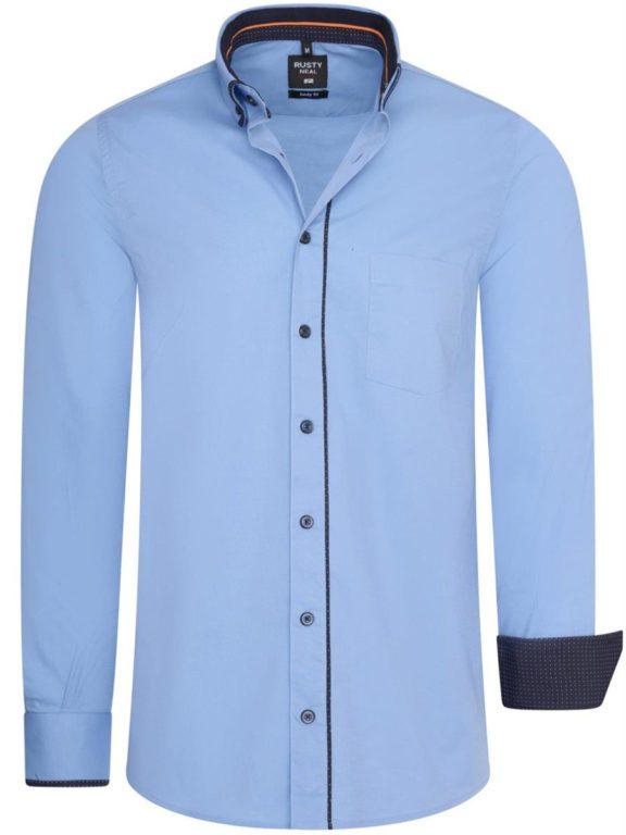 Stretch overhemd met borstzakje lichtblauw Rusty Neal 11027 voorkant
