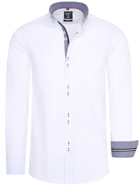 Stretch overhemd met borstzakje wit Rusty Neal 11025 voorkant