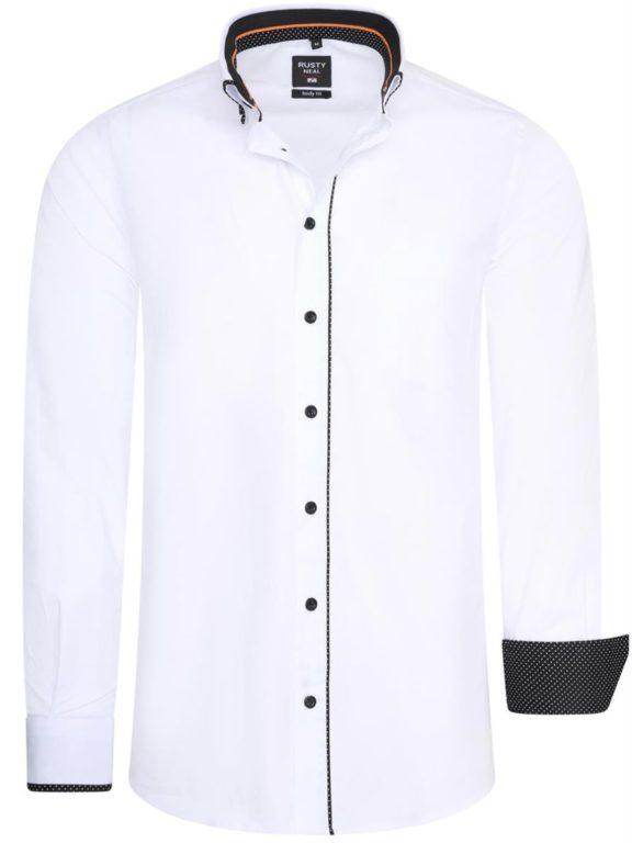 Stretch overhemd met borstzakje wit Rusty Neal 11027 voorkant