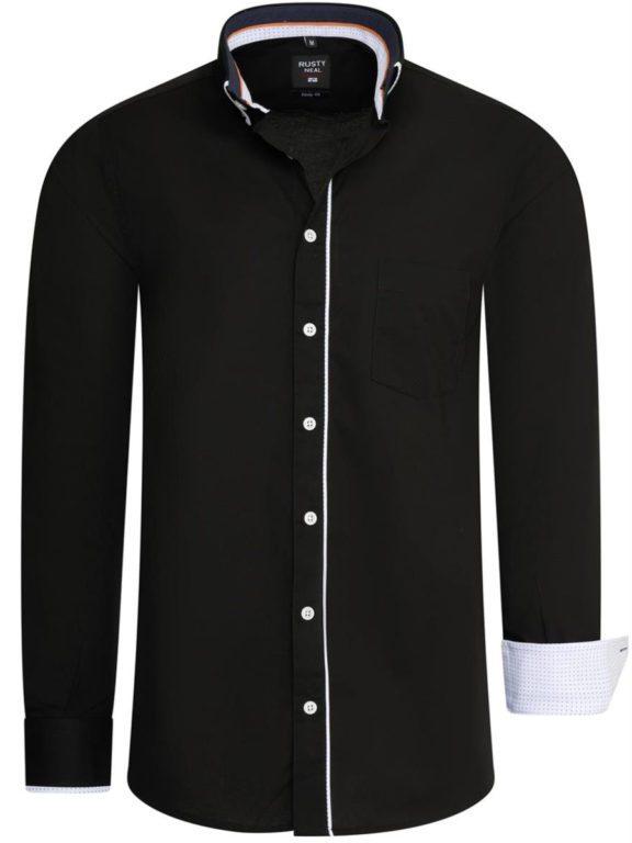 Stretch overhemd met borstzakje zwart Rusty Neal 11027 voorkant