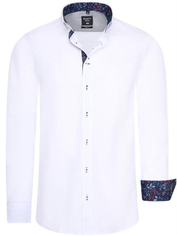 Wit overhemd met bloemenprint in de kraag Rusty Neal 11030 voorkant