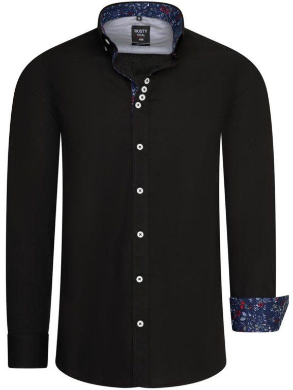 Zwart overhemd met bloemenprint in de kraag Rusty Neal 11030 voorkant